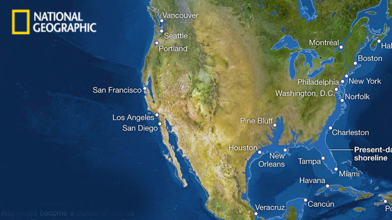 Map Of The Us After Ice Melts - Map reveals what the earth would look like if all the polar ice melted 2